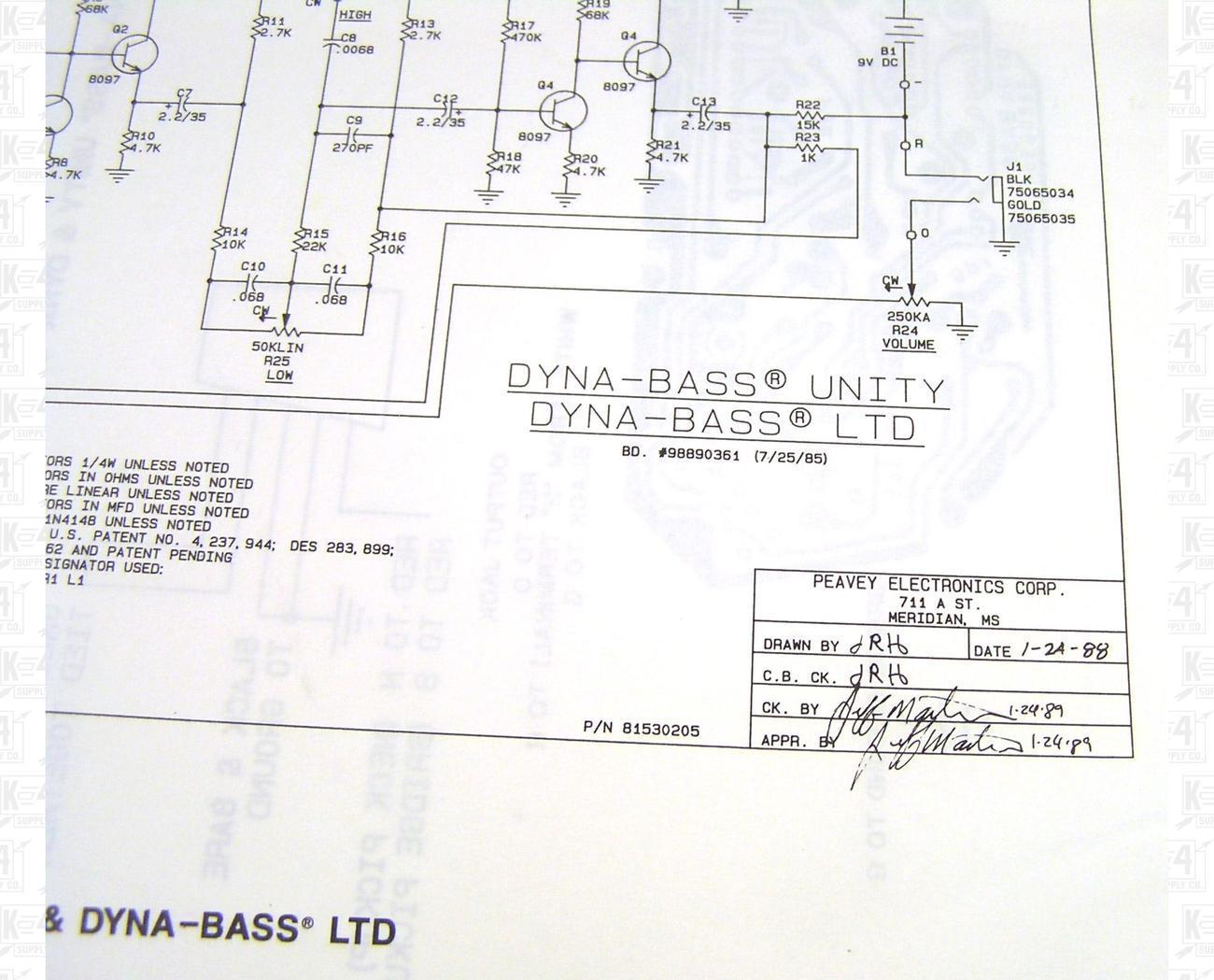 Peavey Dynabass Schematic http://www.bonanza.com/listings/Peavey-Dyna-Bass-Unity-LTD-Preamp-Schematic-and-Diagram/25101869