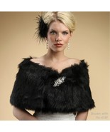 Mariell Black Faux Fox Fur Bridal Formal Wrap S... - $83.99