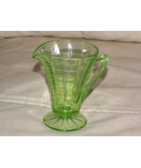 Depression Glass Creamer Green Cone Block Optic - $13.00