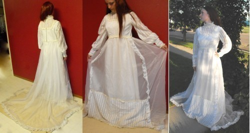 Vintage 70s Hippie Wedding Dress Bridal Gown S Ask seller a question