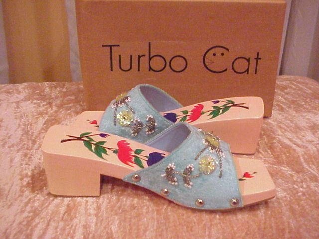 Turbo Cat Turquoise Beads   Sequins Slip In Sandals Size 7