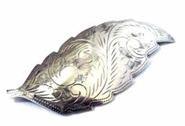 Victorian Sterling Bright Cut Leaf Brooch Sign... - $32.00