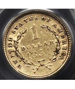 1854 Gold One Dollar Coin Type One  PCGS AU53