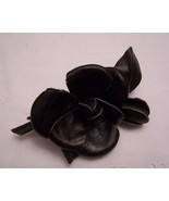 Black Leather Rose w/Pin ~ Vintage ~ Millinery - $3.99