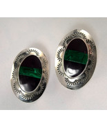 Earrings - Mexico 925 Sterling Silver Malachite... - $30.00