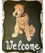 Airedale Terrier Dog Custom Painted Welcome Sig... - $35.00