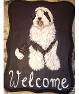 Old English Sheepdog Custom Painted Welcome Sig... - $31.95