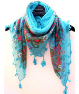 Fashion Blue Square Scarf/ Shawl Wrap Decorative With Tassels US/Canada FreeShip - $19.99