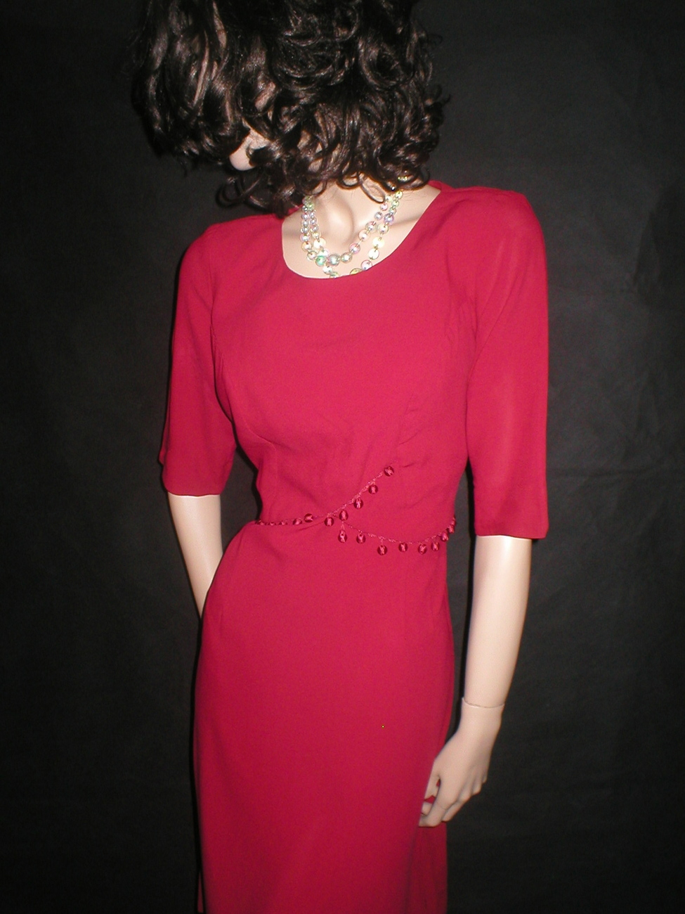 Vintage 50 Best & Co. Red Pom Pom Trim Cocktail Party Dress