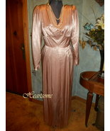 Vintage dress in 40s style champagne beige sati... - $78.00