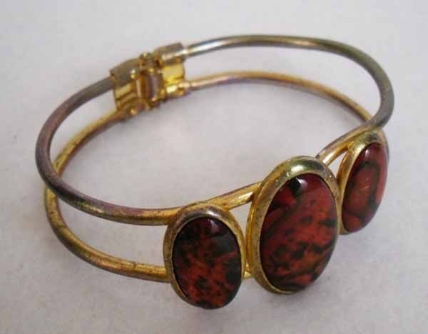 Vintage Brown and Copper Tone Hinged Bracelet Estate