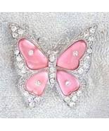 Pink 90s vintage  Crystal Rhinestone Butterfly ... - $9.95