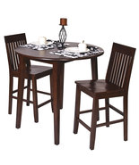 3 Pc SET Amaretto Finish Wood 36H Round Dining ... - $339.99