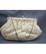 True Vintage Cream Lace Satin Purse Hand Bag Ev... - $29.69