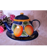 Beautiful Fruit Pattern Ceramic Teapot with Sma... - $15.00