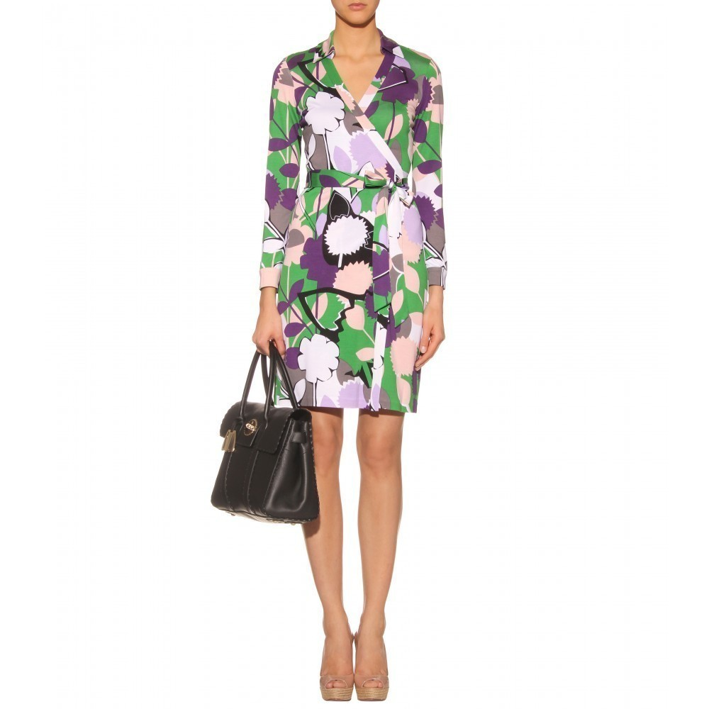 DIANE von FURSTENBERG NEW JEANNE PAPER FOREST GREEN DRESS - US 4 - UK 8