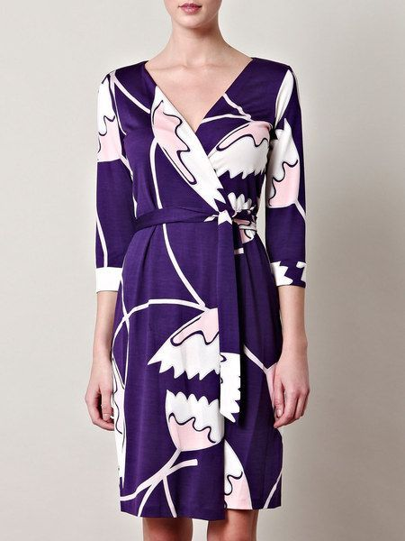 DIANE von FURSTENBERG NEW JULIAN TWO AFRICAN TULIP DRESS - US 10 - UK 14