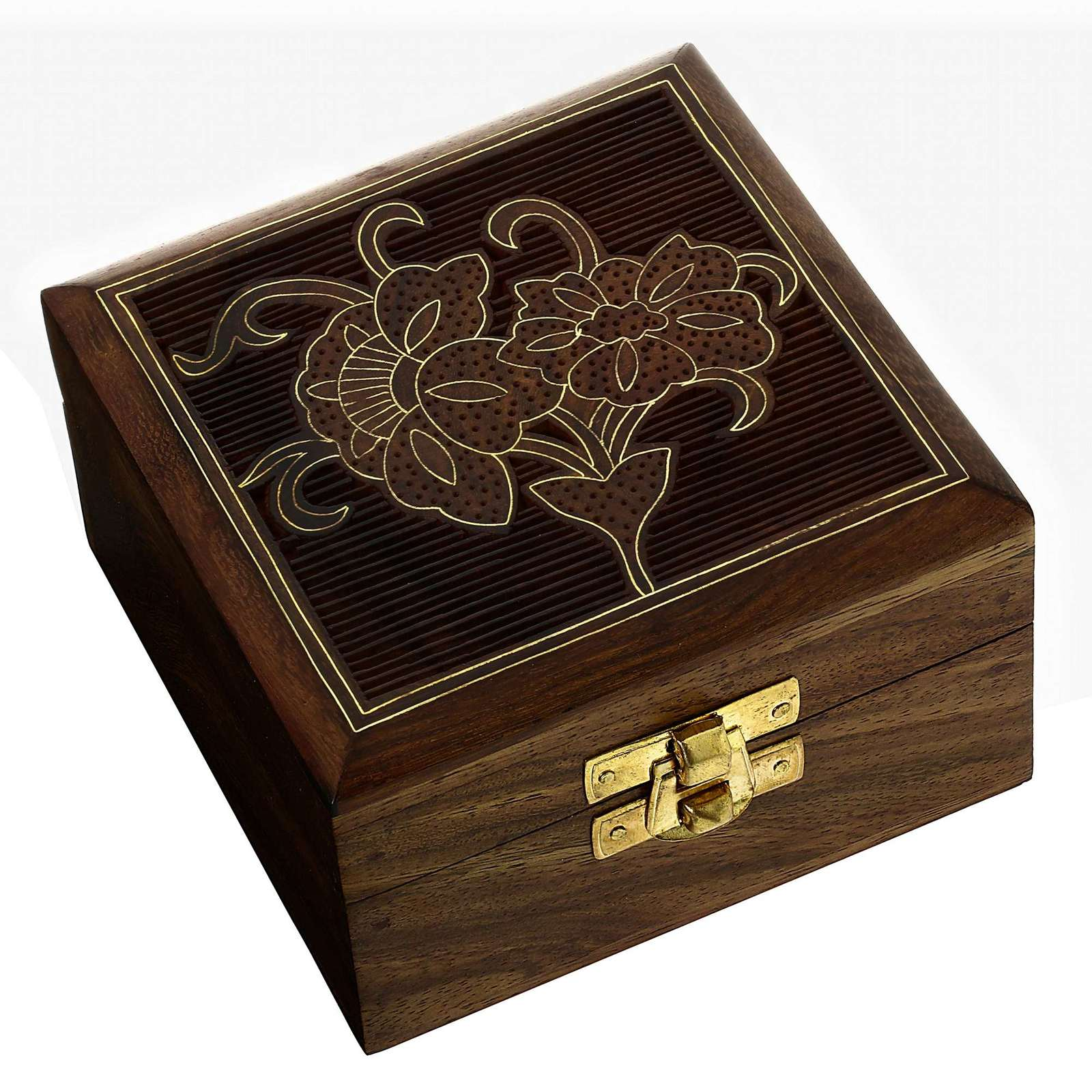 Handcrafted wood gifts designer jewelry box flowers for Jewelry box made of wood