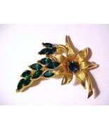 Awesome 1960's Gold Tone & Green Flower Brooch - $20.00