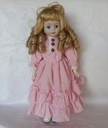 Porcelain Collectors Doll Long Blond Curly hair... - $30.00