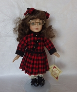 Porcelain Collectors Doll Brown Curly hair Scho... - $30.00