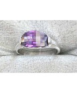 Art Moderne 80s Faceted Amethyst Cut Glass Ring - $9.50