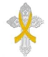 Yellow Cross Awareness Ribbon Pin Cancer Cause ... - $11.97