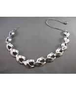 VTG Excellent Silver Tone Leaf  Necklace Smooth... - $11.87