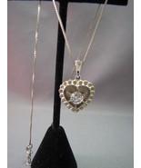VTG Theda Sterling Silver Heart Pendant Necklac... - $24.74