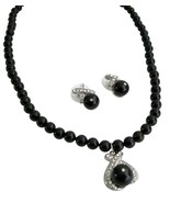 Black Pearl Pendant Jewelry Set Feature Both Br... - $40.68