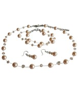 Peach Pearl & Crystal Swarovski Necklace Earrin... - $41.33