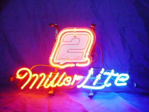 miller lite nascar 2 beer bar neon light sign 13 39 39 x 8 neon. Black Bedroom Furniture Sets. Home Design Ideas