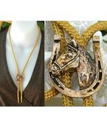 Horse Head Horseshoe Bolo Tie Necktie Necklace ... - $10.95
