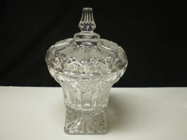 LARGE SQUARE BASED VINTAGE CANDY COMPOTE W-LID~... - $39.95