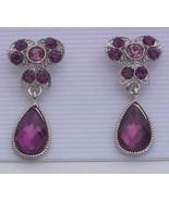 Purple Dangle Rhinestone Silvertone Earrings Clip - $7.00