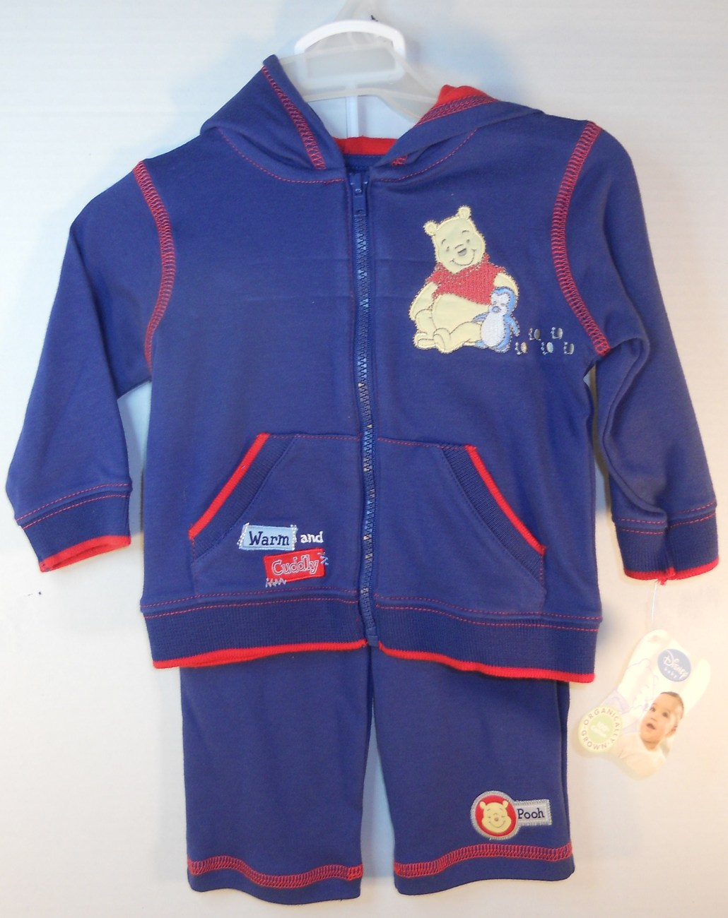 Disney Child Baby Navy red Warm-up suit 3/6 months Winnie the Pooh