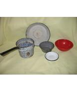 5 Vintage Enamelware Pot, Pan & Bowls, Blue Swi... - $9.99
