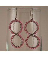 Formed Wire Earrings Infinity Hoop with Pink Co... - $17.00