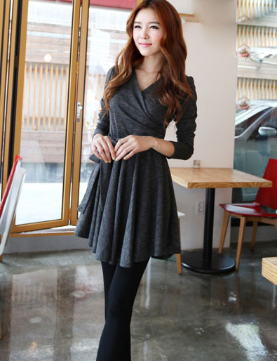 XS-M V collar long sleeves big flare short formal dress - grey