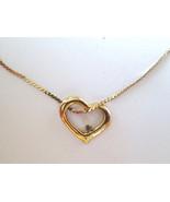 Heart Shaped Pendant & Rhinestone Gold Tone Met... - $9.89