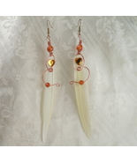 Feathered Copper Wire Earrings with Faceted Hearts - $19.00
