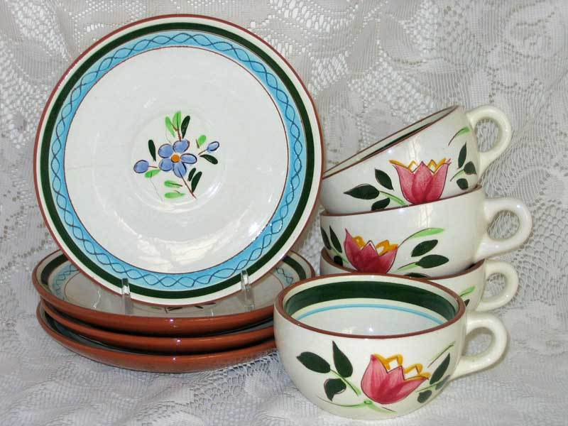 Stangl Country Garden Cups & Saucers, 4 of Each