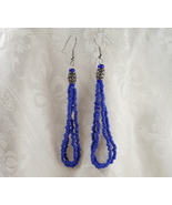 Long Cobalt Blue Earrings with Steel Barrel Accent - $17.00