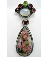 Watermelon Tourmaline Tear with Blue Flash Moon... - $160.26
