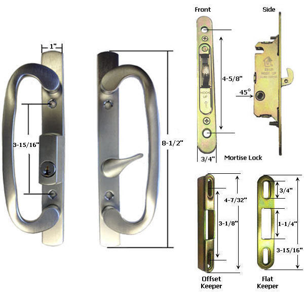Sliding Glass Patio Door Handle Kit With Mortise Lock W Faceplate And Keeper