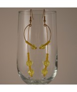 Brass Wire Earrings Formed into a Curve with Br... - $17.00
