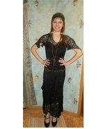 20s Edwardian ensemble black lace dress slip he... - $78.00