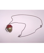 Jewelry Swarovski Red Button Quail Egg Acorn Pe... - $20.00