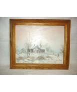 Collectors Corner Oil Painting Winter Scene Oak... - $19.99