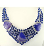Purple Lace Agate and London Blue Topaz faceted... - $358.08